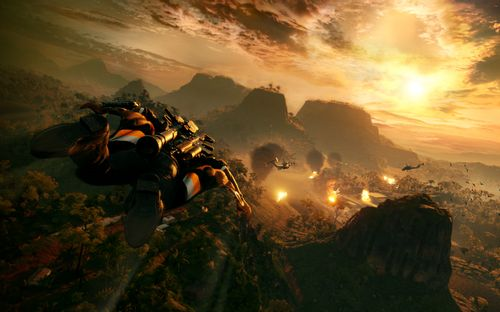 Rico fliegt mit Wingsuit bei Sonnenuntergang (Just Cause 4)