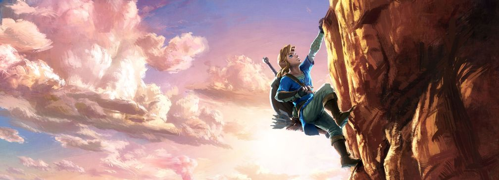 Artwork; Link besteigt einen Berg (The Legend of Zelda: Breath of the Wild)